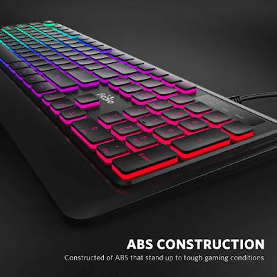 FIODIO Membrane Gaming Keyboard, USB Wired Keyboard with Rainbow Backlit