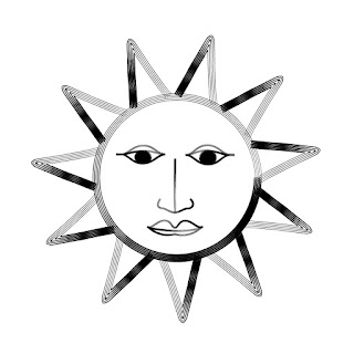 Vector line art of sun with a human face