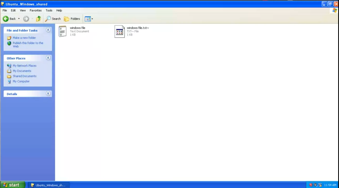 How to share folder between Windows XP and Ubuntu host in