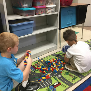 math center with legos teach magically