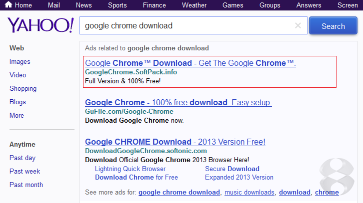 Searching for 'Google chrome browser' in Yahoo may lead to sirefef