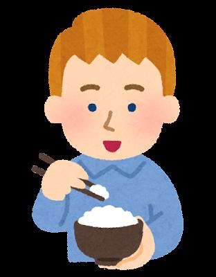 箸でご飯を食べる外国人のイラスト(男性)