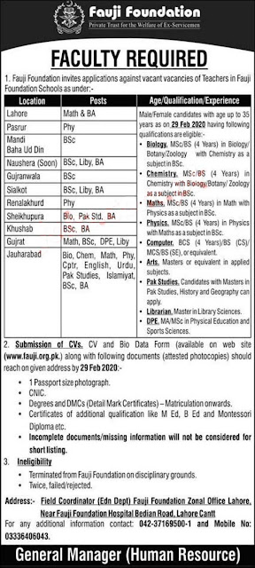 Fauji Foundation Jobs 2020 for Teaching and Non-Teaching Staff