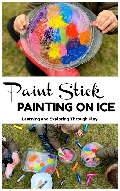 Painting on Ice - Painting with Paint Sticks