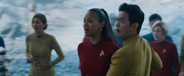 Zoe Saldana and John Cho, staying sharp