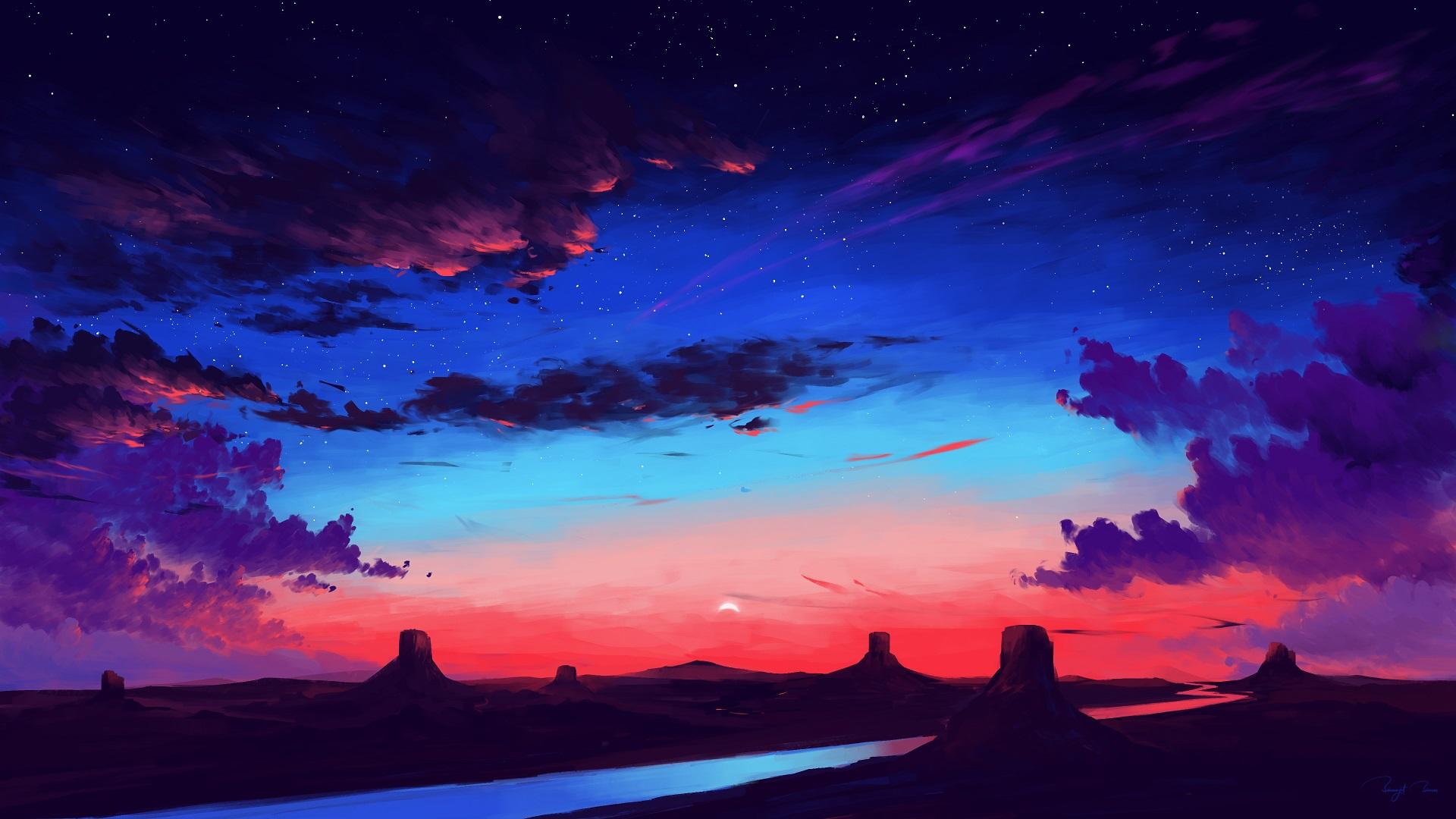 BEAUTIFUL LANDSCAPE ILLUSTRATION BACKGROUND WALLPAPER HD 1080p