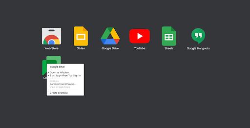 Ventana del activador de aplicaciones con las opciones del menú que aparecen al hacer clic con el botón derecho en la aplicación de GoogleChat