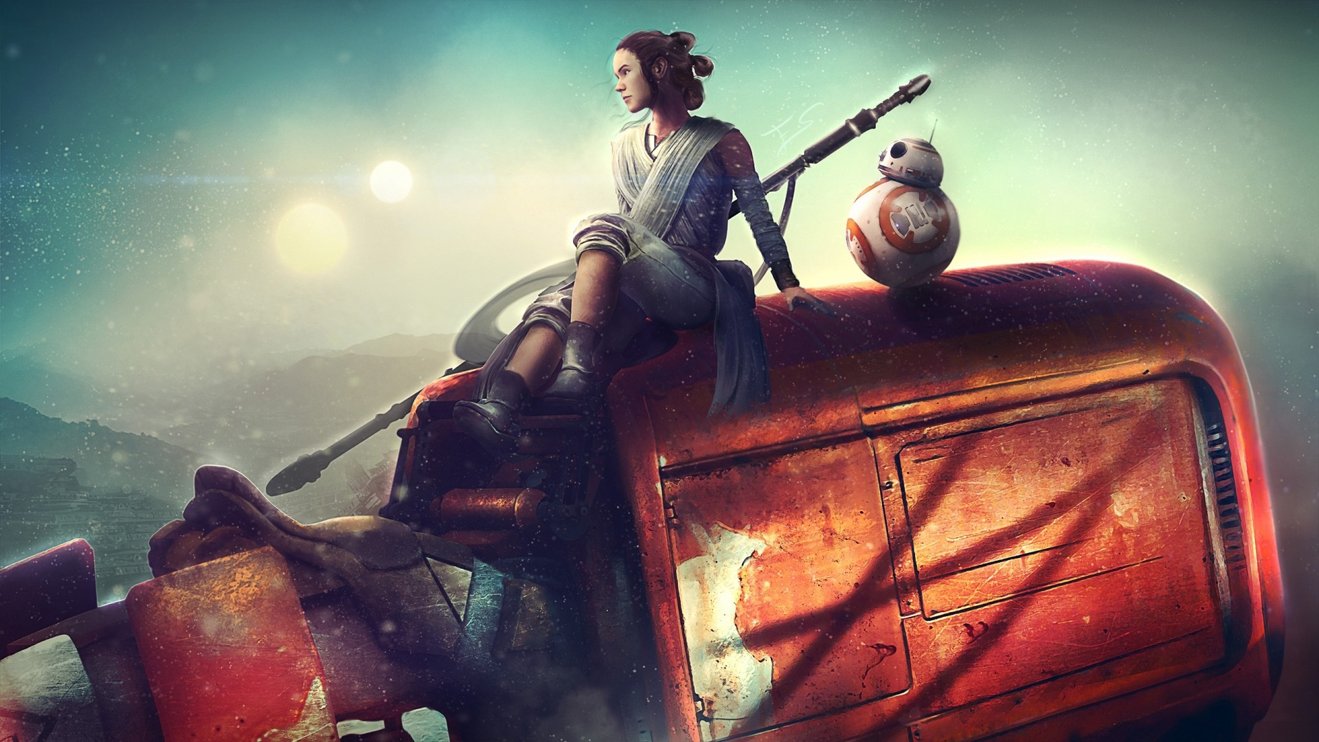 Star Wars The Force Awakens Ray Bb 8 Papel De Parede