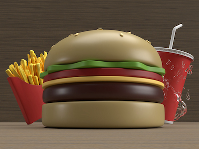 3D Burger, fries and drink background