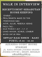 Walk In Interview di Azzahra Guest House Syariah Sidoarjo November 2019