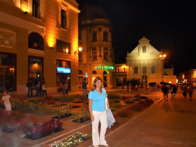 Pecs, la città ungherese, di sera