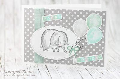 Kindergeburtstag; Karte 1 Geburtstag; Kindergeburtstagskarte; stampinup; Love you lots; Aquarreltechnik; Labeler Alphabet; Match the Sketch; Stempel-biene