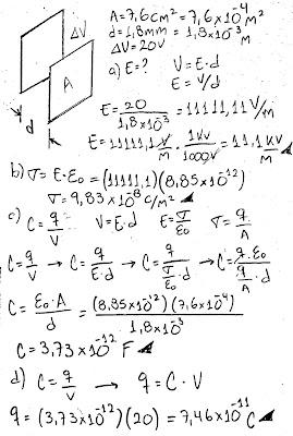 Un capacitor lleno de aire está formado por dos placas paralelas, cada una de ellas con un área de 7.60 cm2, separadas una distancia de 1.8 mm. A estas placas se les aplica una diferencia de potencial de 20 V. Calcule : a) El campo eléctrico entre las placas. b) La densidad de carga superficial. c) La capacitancia. d) La carga sobre cada placa.