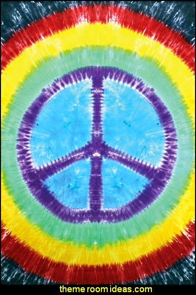 Rainbow Tie-Dye Peace Sign Tapestry Dorm Wall Hanging