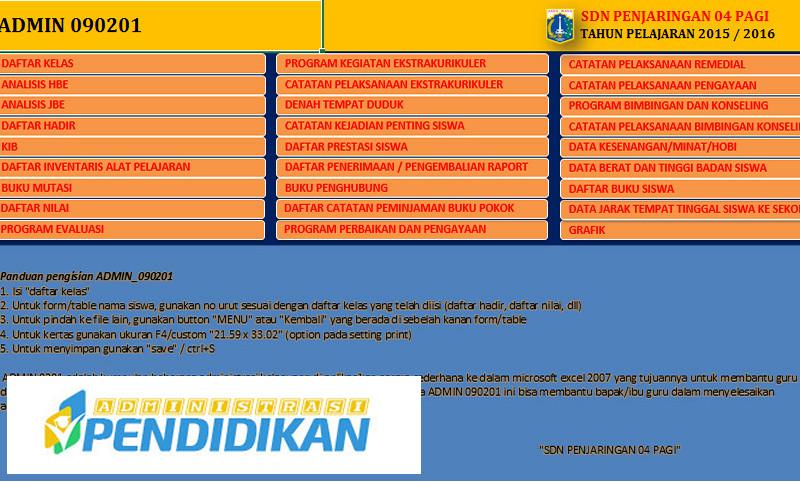 27 Berkas Administrasi Guru SD, SMP, SMA SMK Dalam Bentuk Aplikasi Excel