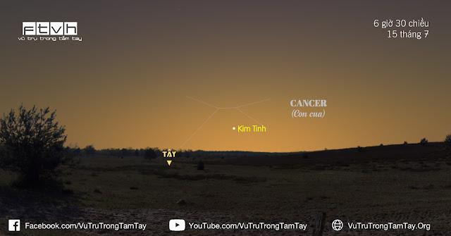 [Ftvh] Sao Kim xuất hiện không cao quá 10 độ so với chân trời hướng tây sau khi Mặt Trời lặn kể từ giữa tháng 7.