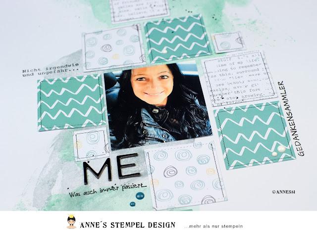Motivpapiere und Fotos auf einem Scrapbookinglayout anordnen und aufkleben