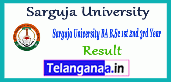 Sarguja University Supplementary BA B.Sc B.Com BBA BCA 1st 2nd 3rd Result