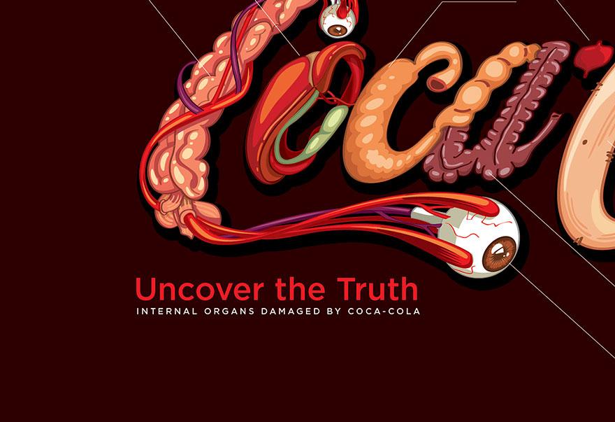 Representación del daño que hace Coca-Cola