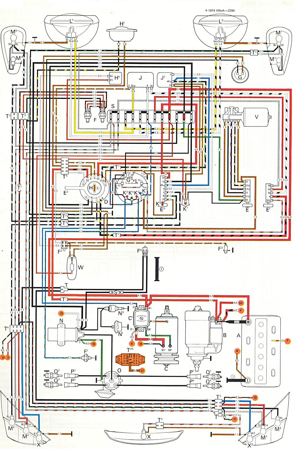 1974 vw generator wiring automotive wiring diagrams basic alternator wiring diagram 1974 vw alternator wiring diagram [ 999 x 1526 Pixel ]