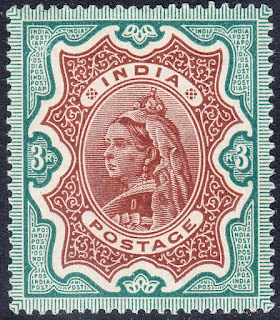 India Victoria 1895 3rs brown-green