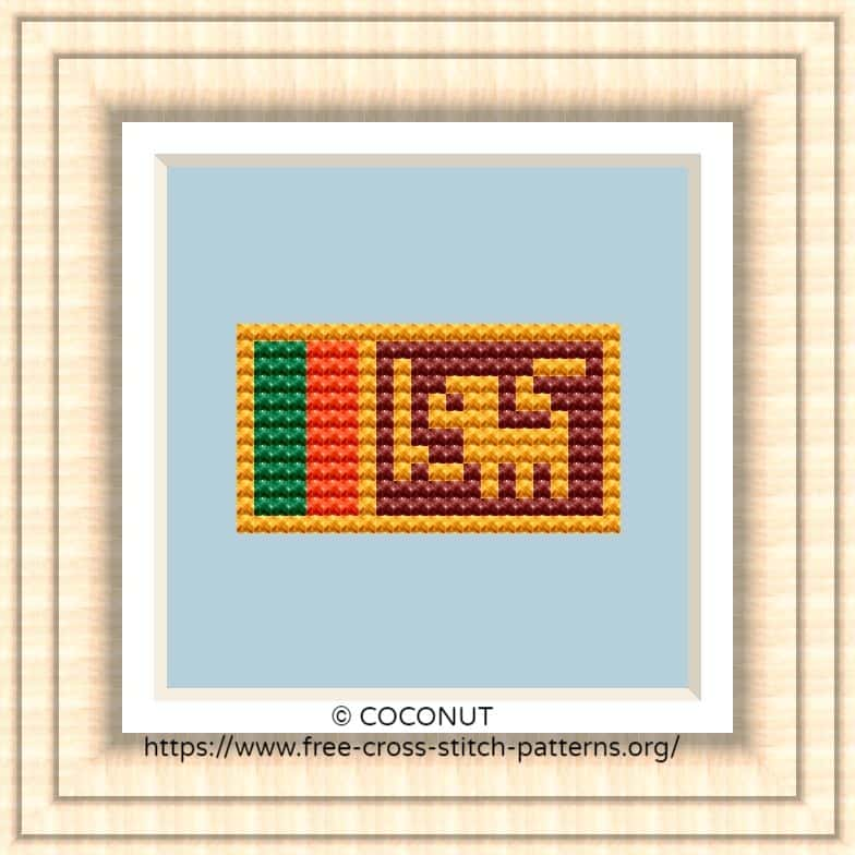 NATIONAL FLAG OF SRI LANKA CROSS STITCH CHART