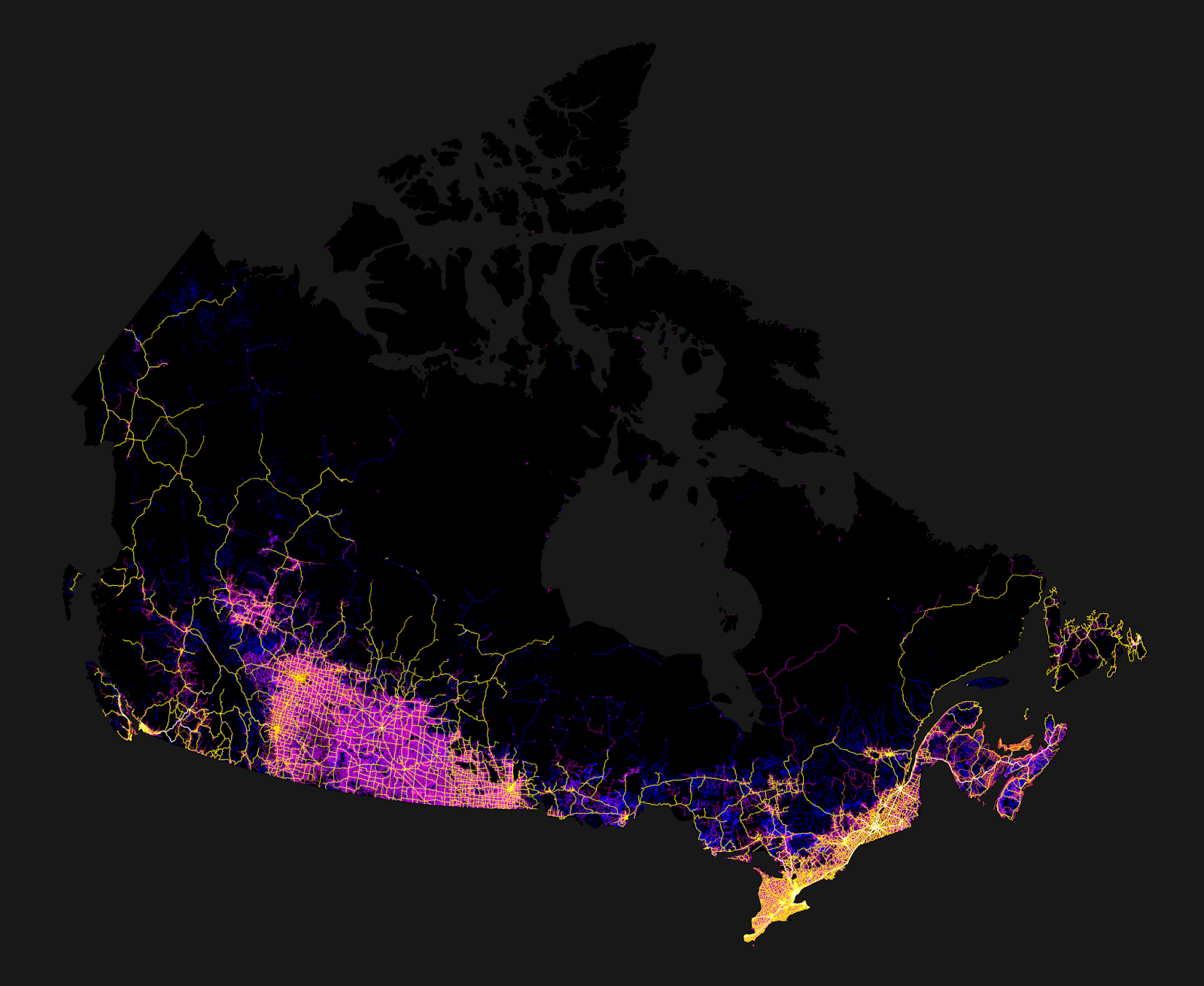 The Canada mapped only by roads, highways & dirt trails
