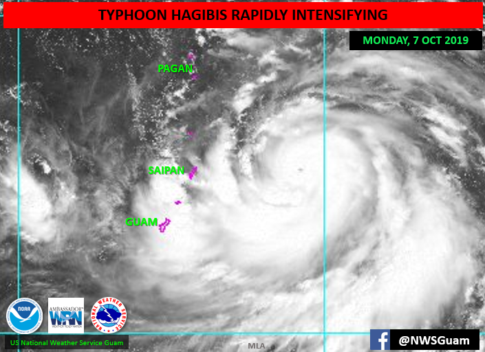 Typhoon Hagibis affects Guam and Northern Mariana Islands.