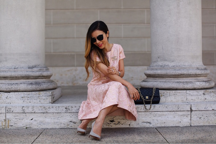 Teri Jon peach floral jacquard dress, chanel brooch, chanel classic flap bag, grey pumps, prada sunglasses, wedding guest, dress for wedding guest, san francisco fashion blog