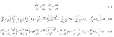 2D flood differential equations St Venant