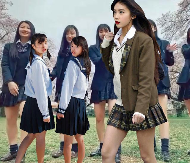 Японские школьницы разного возраста [фотоколлаж]
