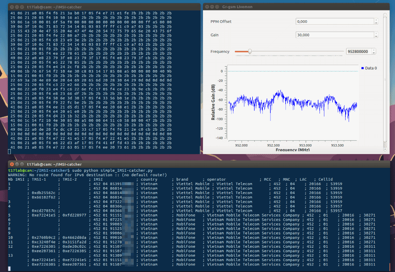 IMSI-catcher: Realtime Extracter for GMS Data, IMSI Numbers and more
