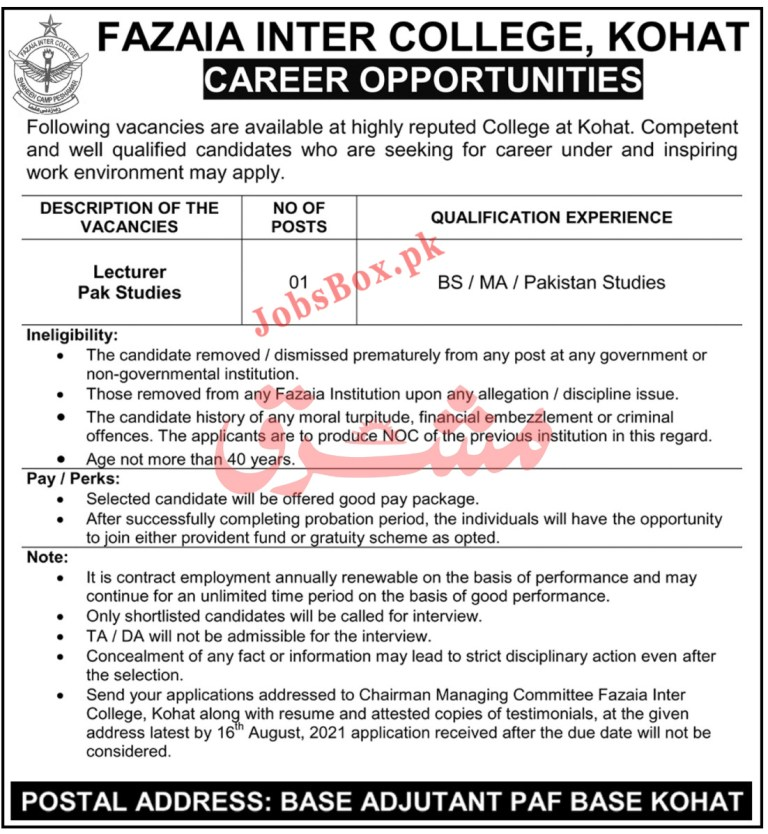 Fazaia Inter College Kohat Jobs 2021 Latest Appointment