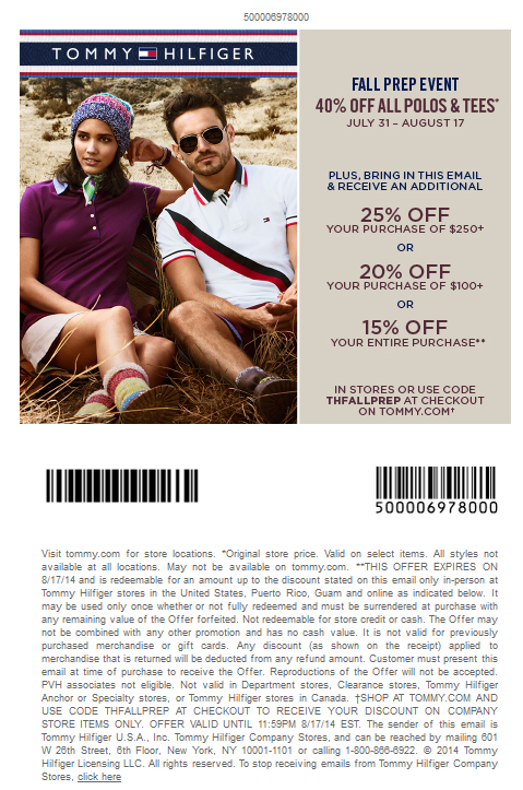 photograph regarding Tommy Hilfiger Coupon Printable referred to as Tommy hilfiger discount coupons united states printable - Coupon codes ontario mailed