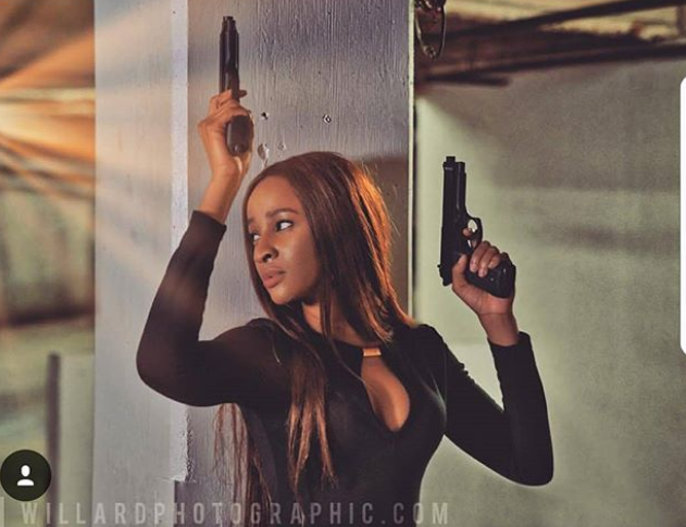 Bond girl Adesua! Adesua Etomi shares photo from an action-packed movie she recently shot
