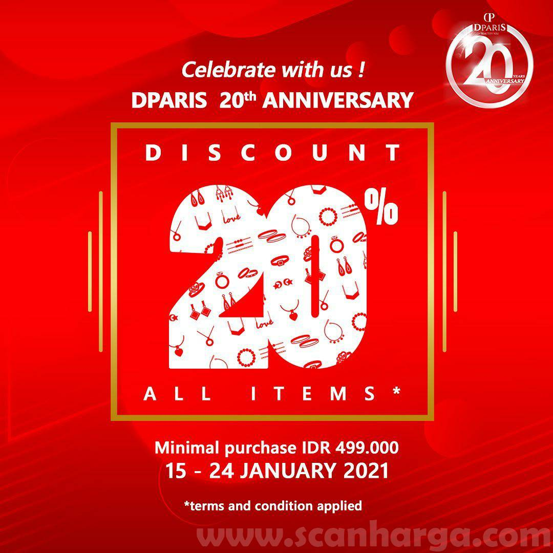 Promo DPARIS 20th Anniversary Special Discount 20% All Items