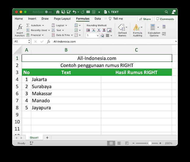 Rumus RIGHT pada Excel