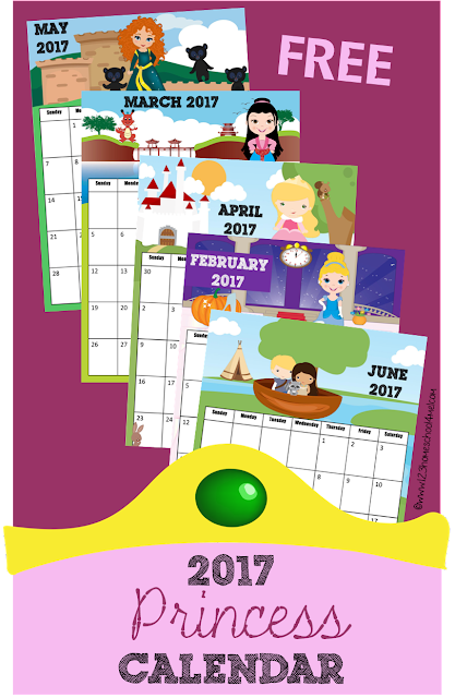 FREE 2017 Princess Calendar - These are SO CUTE!! toddler, preschool, kindergarten, 1st grade and 2nd grade kids will love learning about days, weeks, and moths with these calendars.