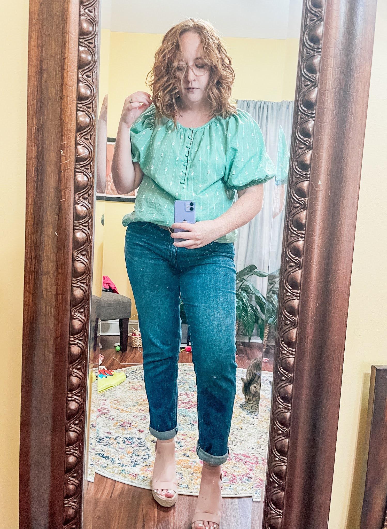 green-puff-sleeve-blouse-boyfriend-jeans
