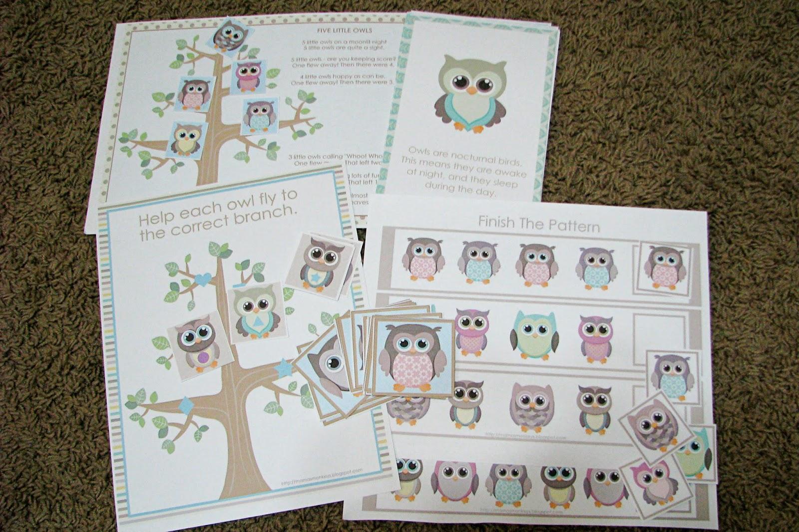 Mommy's Little Helper: Owls Preschool Theme