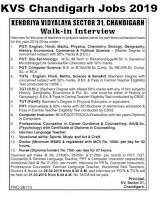 KVS Chandigarh Recruitment 2019