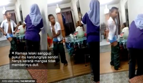 (VIDEO) - Anak derhaka! Sanggup pukul ibu sendiri kerana tak diberikan duit