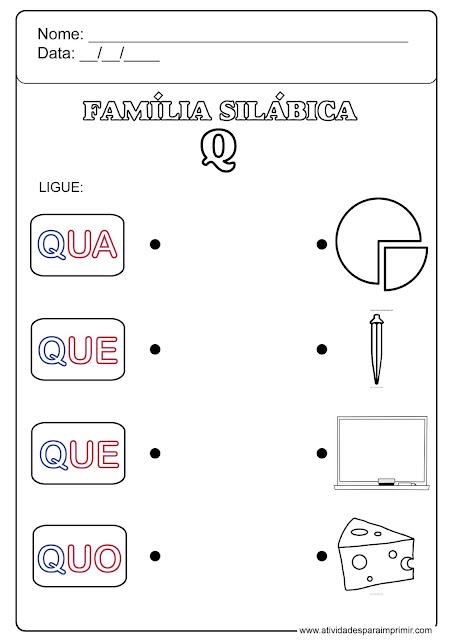família silábica do q para imprimir
