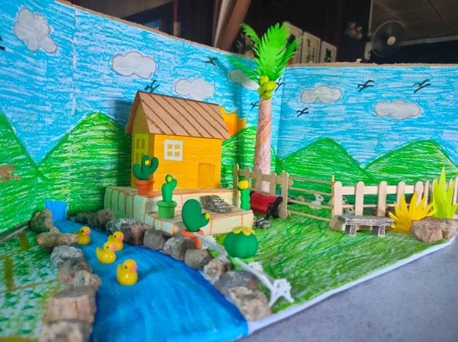 diorama pemandangan kampung