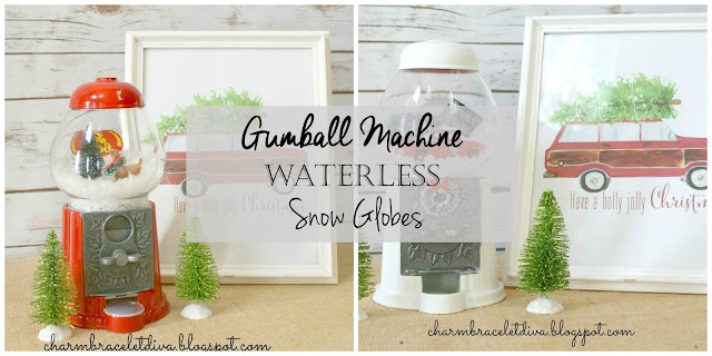 DIY gumball machine snow globe