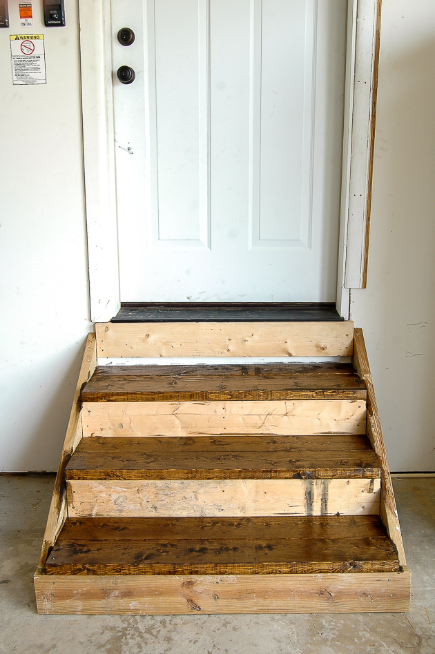 Staining garage steps