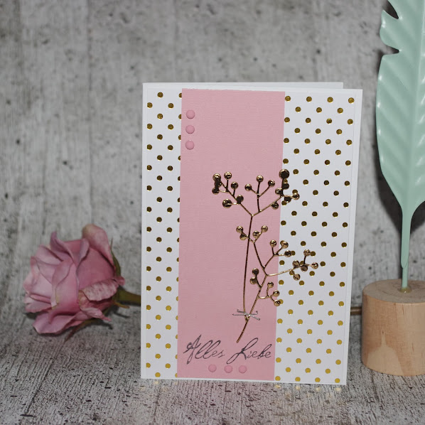 [DIY] Frühlingsboten  Blumige Grußkarte mit Gold und Rosa