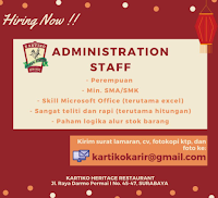 We Are Hiring at Kartiko Heritage Restaurant Surabaya Februari 2021