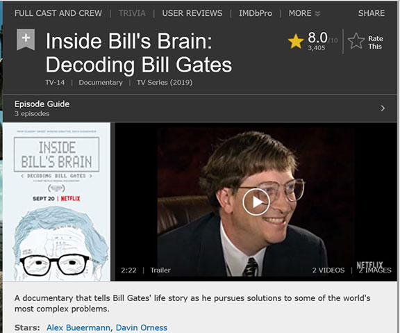Getting into Bill's brain documentary series (Source: Netflix)
