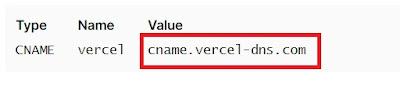 cname pointing domain di vercel